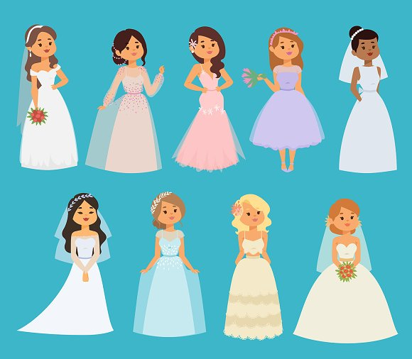 Wedding Brides Vector Girl Character