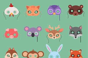 Animals vector carnival kids mask