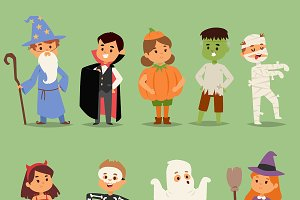 Cartoon cute kids wearing Halloween