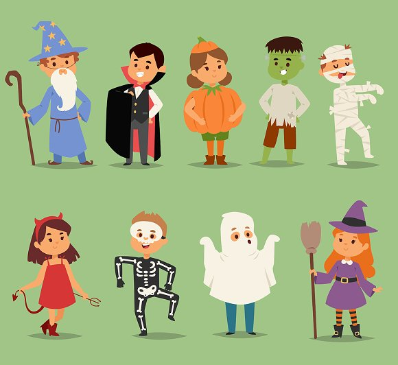 Cartoon Cute Kids Wearing Halloween