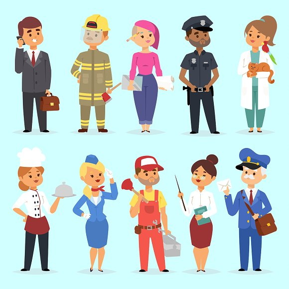 People Different Professions Vector