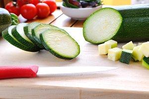 Green zucchini prepared
