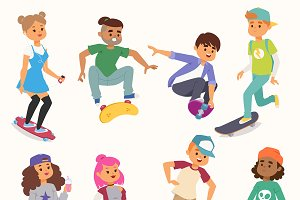 Skateboard vector young people kids
