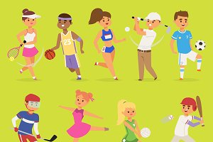 Ssportsmen vector cartoon characters
