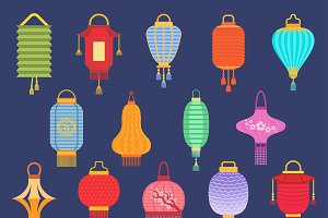 Chinese lantern ligher vector paper
