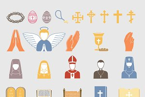 Christianity religion vector icons