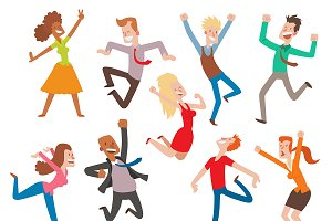 Vector people jumping party dance