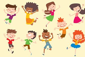Happy vector children kids jumping