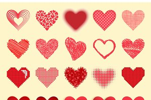 Differents vector red heart icons