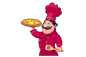 Cook with pizza. Traditional italian