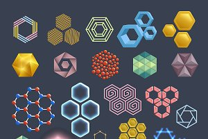 Vector hexagon icons design elements