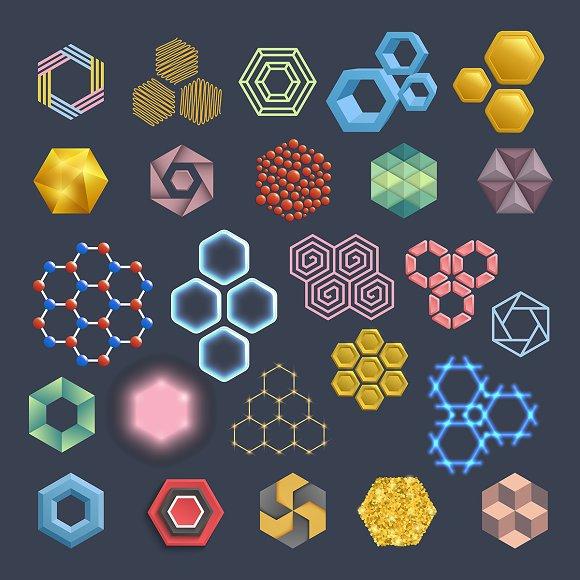Vector Hexagon Icons Design Elements