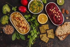 hummus and snacks, food frame