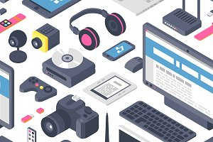 Technology isometric gadgets vector