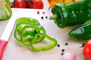 Green pepper prepared