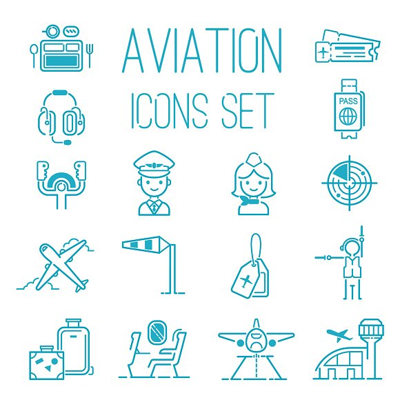 Aviation Icons Vector Set Airline