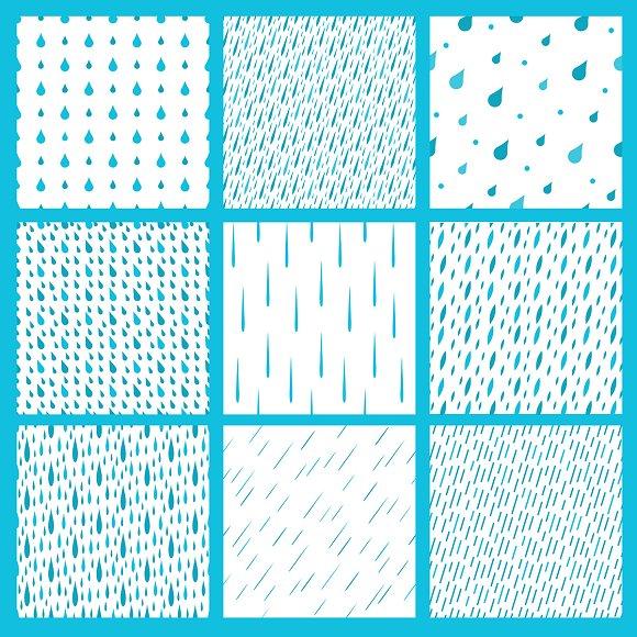Rain Drops Seamless Pattern Cards