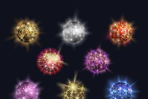 Disco balls vector club sphere