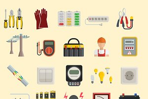 Energy power icons vector electric