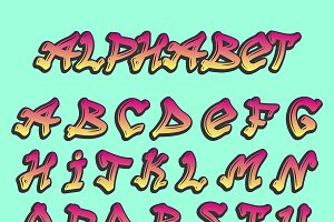 Alphabet graffity vector ABC font