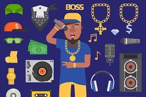 Hip hop raper vector man musician