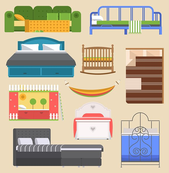 Sleeping Bed Furniture Vector Design