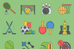 Sport games vector icons flat design