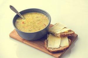 Soup with bread and cheese