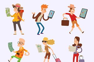 Vector people tourist map travel
