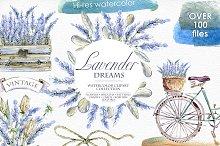 Lavender WATERCOLOR clipart set