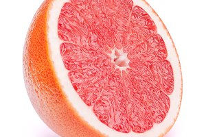 Half of grapefruit fruit isolated