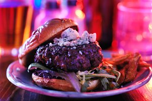 hamburger in nightclub or bar
