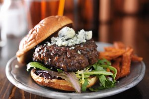 gourmet burger with blue cheese