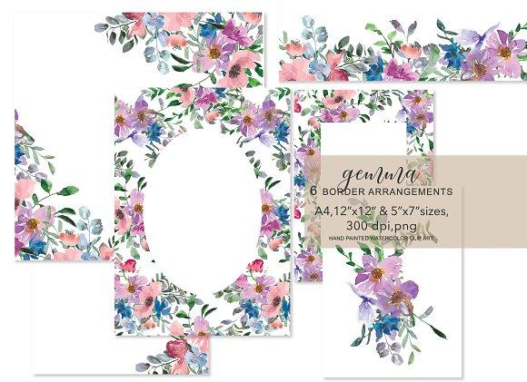 Watercolor Floral Foliage Frame Set