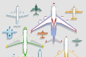 Vector airplanes icons top view
