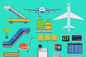 Aviation airport vector icons set