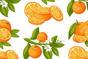 Oranges products vector pattern