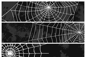 Spiders vector web silhouette spooky