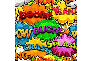 Multicolored comics speech bubbles