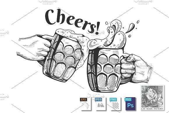 Beer Mugs Cheers Clinking