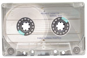 Vintage cassette tape. Data storage.