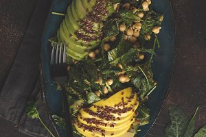 Healthy avocado, chickpeas salad