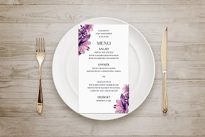 Pink and purple flowers wedding menu