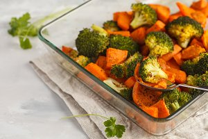 Baked broccoli and sweet potato