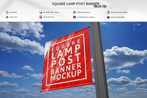Square Lamp Post Banner Mock-Up