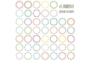 45 Hand drawn decorative brushes