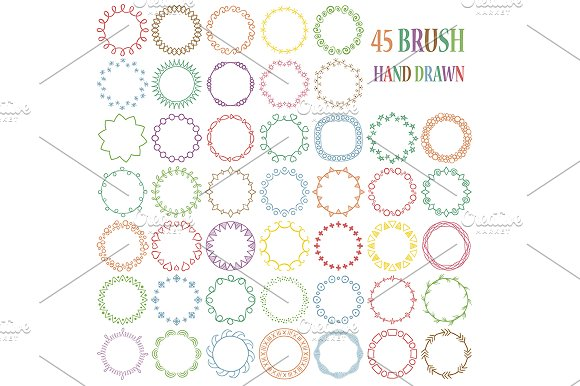 45 Hand Drawn Decorative Brushes