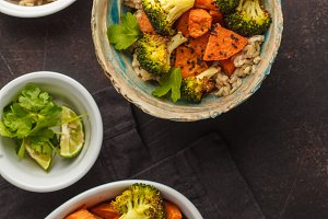 rice with baked broccoli and yam