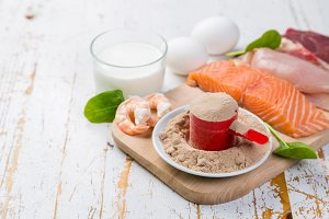 Selection of animal origin protein sources with powder protein