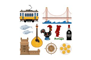 Portuguese vector icon set in flat style